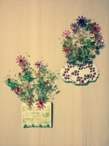 mixed media floral wall art